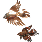 Vintage 1940s Sterling Pair Big Fish Pins Figural Silver TLC