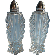 Vintage Cut Glass Shakers Tall Pair Salt Pepper Chrome Lids
