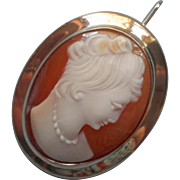 Vintage Cameo Shell 12K Gold Filled Carved Updo Hair Necklace