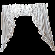 2 Sets Vintage Swag Valance Jabot Curtains Sheer Dotted Lace Trim