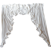 2 Sets Vintage Swag Valance Jabot Curtains Sheer Dotted Lace Trim