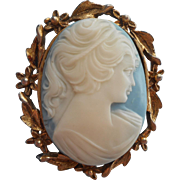 Vintage 1960s Cameo Pin Large Blue White Resin Plastic