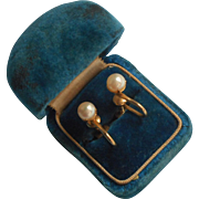 Vintage Cultured Pearl Earrings Gold Filled Screw Back