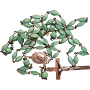Vintage Rosary Light Green Givre Glass Beads 1930s to 1950s