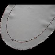 Antique Linen Oval Cutwork Hand Embroidered Centerpiece Doily