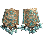 Vintage 1950s Cloisonne Enamel Glass Beads Clip Earrings India