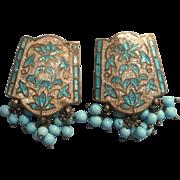 Vintage 1950s Cloisonne Enamel Glass Beads Clip Earrings India
