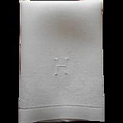 Monogram H Antique Towel Linen Damask Bow Clover Garlands