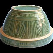 McCoy Yellow Ware Bowl Green Barrel Pattern Vintage 9 Inch