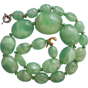 Vintage 1920s Givre Glass Beads Partial Necklace Light Green