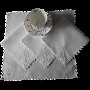 Monogram H Tea Napkins Antique Linen Hand Embroidery TLC