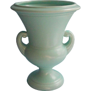 Vintage Aqua Pottery Vase 1940s 1950s Large Urn Shape Handles
