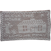 Vintage Motto Tray Doily Filet Crocheted Lace Bless This House
