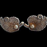 Vintage Cultured Pearl Sterling Silver Filigree Earrings Screw Back