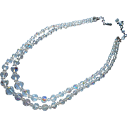 Vintage Cut Crystal Beads AB Necklace Long Two Strand Laguna