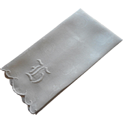 Monogram H Antique Linen Towel Hand Embroidered Whitework Large Monogram