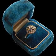 Eastern Star Vintage Ring Gold Filled Enamel Glass Faux Diamonds Srones