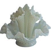 Fenton Epergne Bowl Vase 3 Horns Vintage Milk Glass Hobnail