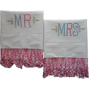 Vintage Pillowcases Mr. and Mrs. Hand Embroidery Pink Lace Pillow Cases