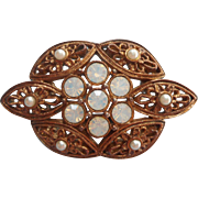 Victoria Brooch 1972 Vintage Sarah Coventry Filigree Opalescent Glass Stones