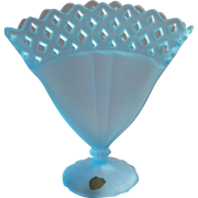 1920s Tiffin US Glass Blue Satin Fan Vase Vintage Tur quoiseOpen Work Original Label