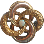 Antique Pin Opal Knot Form Late Victorian