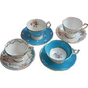 Vintage English Bone China Cups Saucers Turquoise White Coalport Tuscan Cauldon