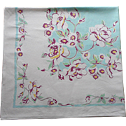 Vintage Tablecloth Aqua Purple Print Kitchen TLC