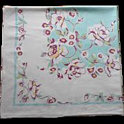 Vintage Tablecloth Aqua Purple Print Kitchen TLC