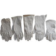 Vintage Gloves All White With White Embroidery Fabric