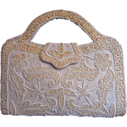 Vintage French Purse Summer White Cream Beads Embroidery