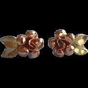 Vintage Rose Gold Filled Yellow Krementz Roses Earrings Screw Back