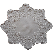 Fleur De Lis Antique Doily Linen As Is Charming Repairs Ric Rac