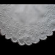 Antique Hand Embroidered Centerpiece Doily White Work Linen