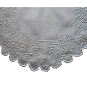Antique Hand Embroidered Centerpiece Doily White Work Linen