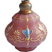 Antique Cased Glass Bohemian Enameled Perfume Bottle Pink No Atomizer Top