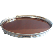 Vintage Tray Silver Plated Gallery Rim Faux Rosewood Center