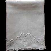 Monogram S Antique Linen Towel Hand Embroiery Whitework Scallops
