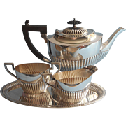 Handsome Antique Silver Plated Ribbed Teapot Creamer Sugar Bowl Tray WMF English Married Set