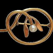 Vintage Mistletoe Form Pin Gold Filled Cultured Pearl Van Dell