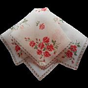 Vintage Hankie Linen Printed Roses Unused Original Burmel Label