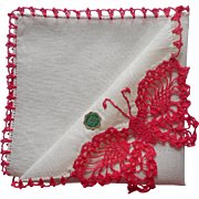 Vintage Hankie Irish Linen Unused Butterfly Crocheted Pink Lace