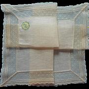 Vintage Hankie Net Lace Linen Unused Original Desco Label