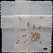 Vintage Hankie Hand Embroidered Nosegay Unused Orginal Label