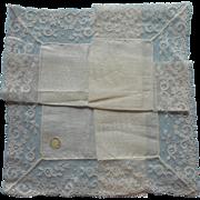 Vintage Hankie Wedding Linen Wide Lace Unused Original Label