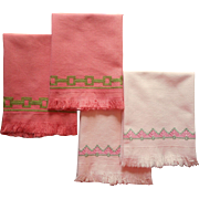 Swedish Embroidery Vintage Guest Hand Towels Pink Green