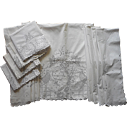 Madeira Set 4 Pillowcases Top Sheet Vintage Hand Embroidered Cutwork Unused