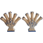 Portugeuse Pottery Pair Vases Vase 5 Finger Blue White Hand Painted Elpa Alcobaca