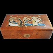 Vintage Egyptain Gentleman's Dresser Box Tooled Leather