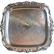 Vintage Lunt Square Silver Plated Tray Serving
